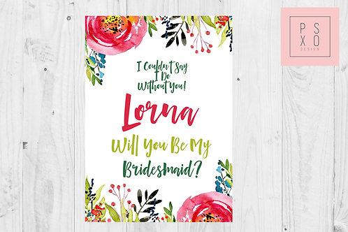 Bright Floral Bridesmaid Proposal Card