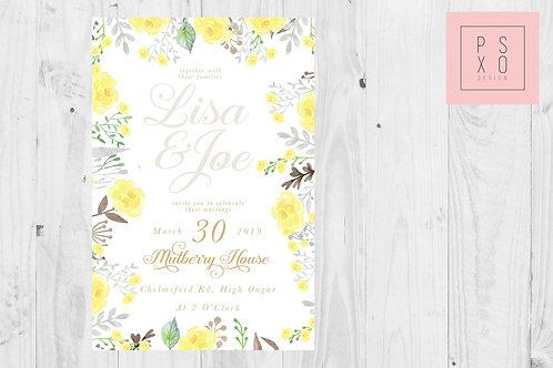 Ellie -Vintage Yellow & Grey Floral Wedding Invite
