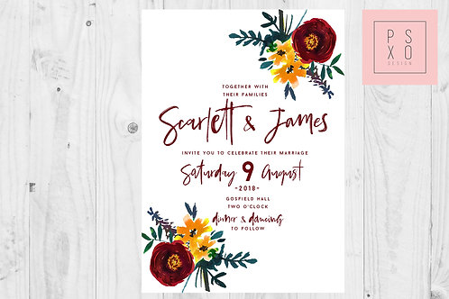 Burgundy & Mustard Floral Calligraphy Wedding Invite