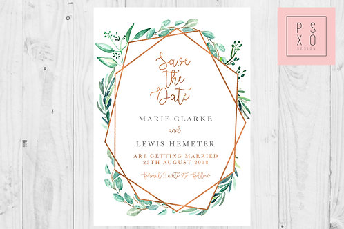 Marie vs Copper - Foliage Eucalyptus Geometric Save The Date