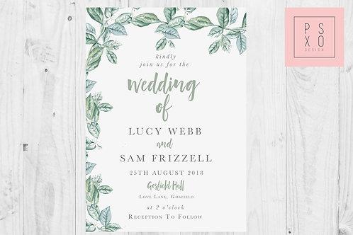 Sweet Foliage Border Wedding Invites