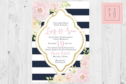 Modern Floral And Striped Wedding Invites
