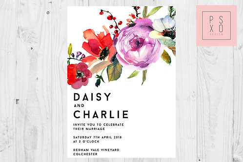 Modern Bold Floral Wedding Invite