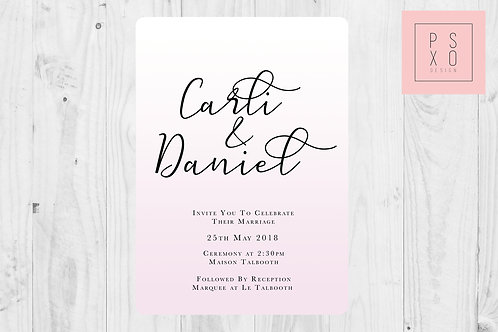 Ombre Pink And Calligraphy Wedding Invite