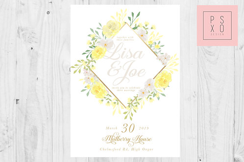 Ellie - ModernYellow And Grey Floral Wedding Invite