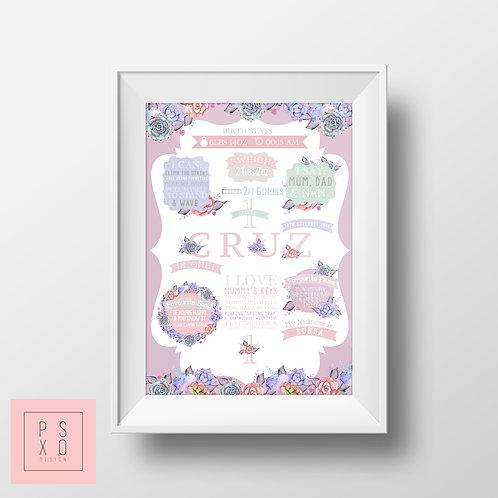 Lilac Succulent Themed Chalkboard Print