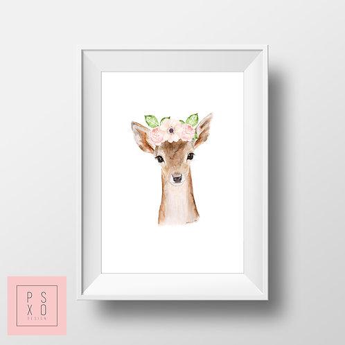 Deer Beautiful Animal With Floral Band Nursery Art