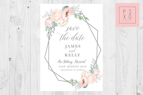 """Marie"" Blush Floral Geometric Save The Date Magnets"