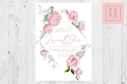 Pink Peony Diamond Wedding Invite