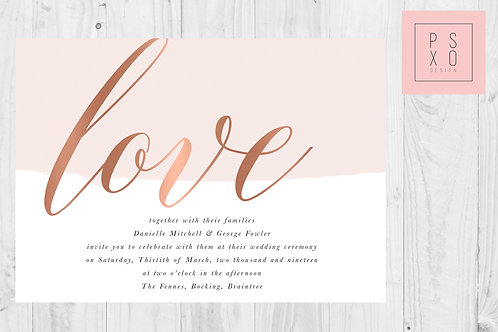 Candace - Rose Gold Faux Foil Effect Blush And White Wedding Invites