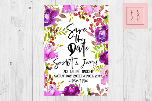 Feeling Ultra Violet Purple And Pink Floral Save The Date Magnet
