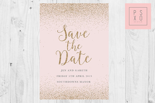 Glitter And Blush Save Date