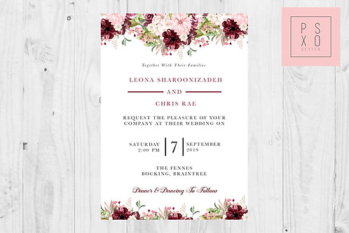 Leona | Beautiful Burgundy And Blush Floral Formal Invite
