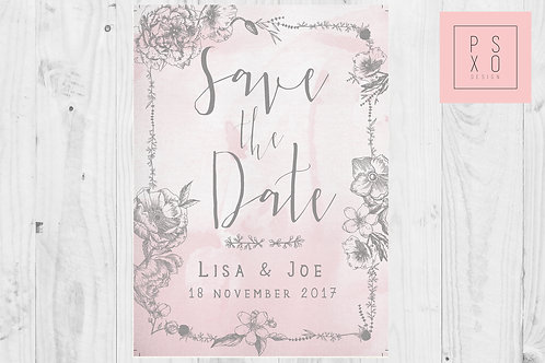 Blush& Grey Watercolour Floral Border Save The Date Magnets