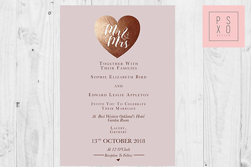 FauxFoil Effect Blush Wedding Invites