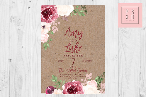 Chelsea v Amy - Kraft Edition - Blush And Burgundy Floral