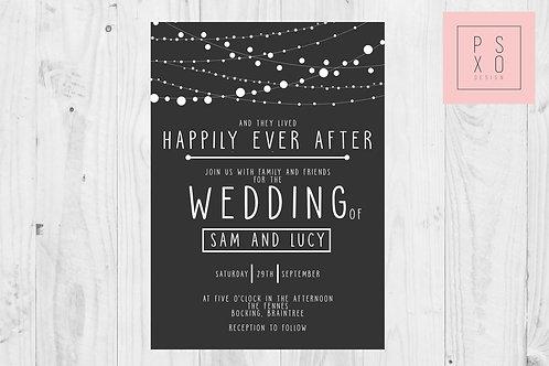Black Fairy Light Themed Wedding Invites