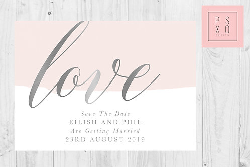 Silver And Blush LOVE Save The Date