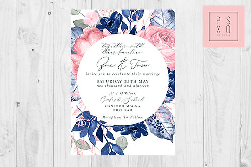 Zoe Oversized Navy & Blush Floral Background Wedding Invites