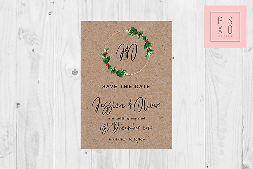 Save The Date // Holly Wreath Rustic
