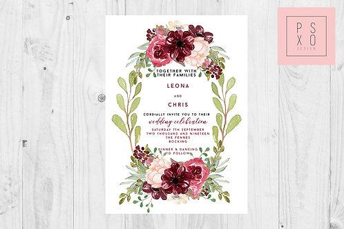 Leona Wreath | Beautiful Burgundy And Blush Floral Formal Invite