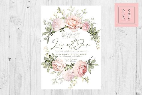 Beautiful Blush Rose Wreath Wedding Invites