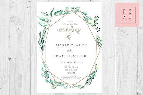 Beautiful Eucalyptus Geometric Themed Wedding Invites Simple