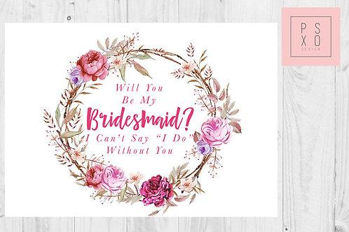 Pink Floral Wreath Bridesmaid Proposal Card