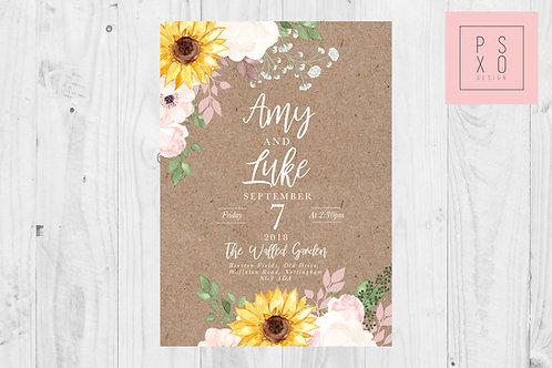 Chelsea Rustic Blush & Sunflower Themed Wedding Invites
