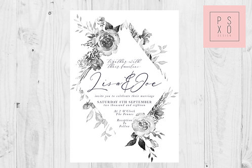 Grey Floral Diamond Wedding Invite Set