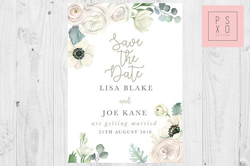 Beautiful White and Gold Floral Foliage Themed Save The Date Magnets