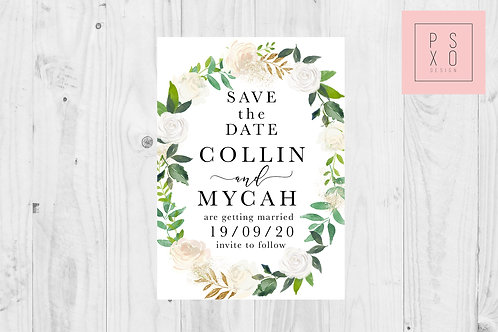 Cream Rose Wreath Oval Save the date Magnet