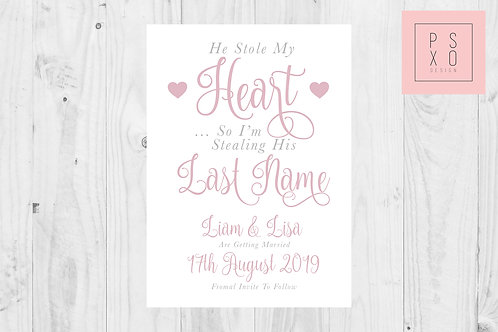 "Lisa ""He Stole My Heart"" Save The Date Magnet"