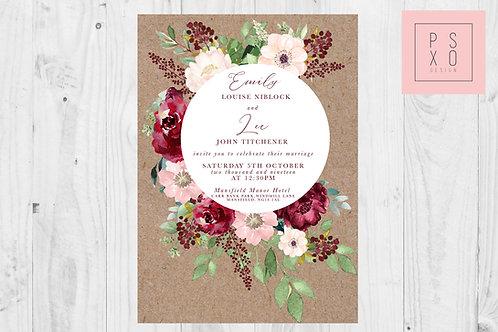 Blush & Burgundy Rustic Zoe Floral Circle Invite