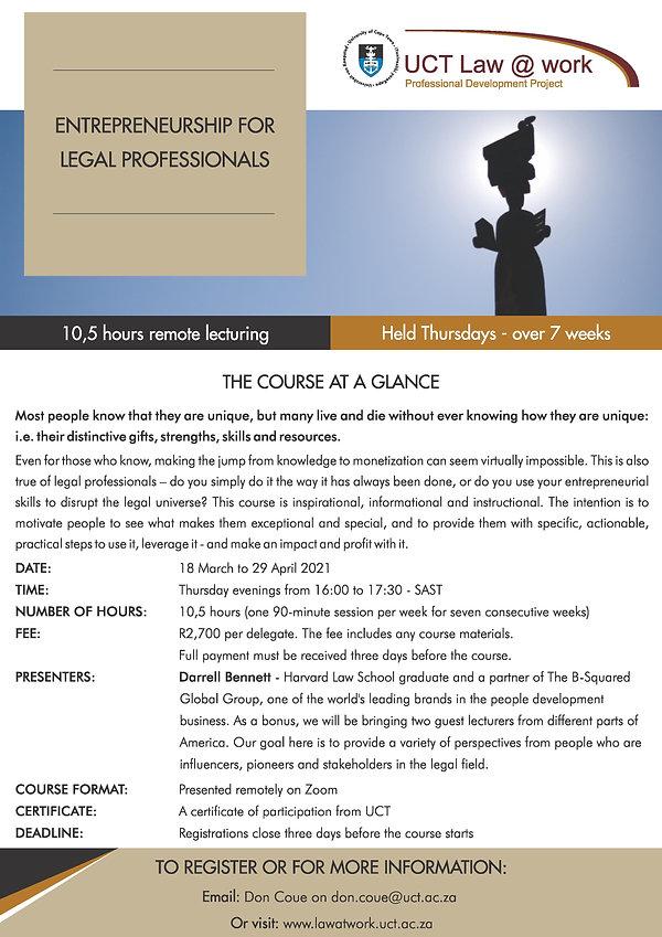 Entrepreneurship for legal professionals