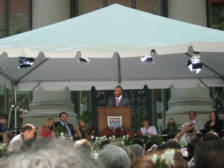 Graduating from Harvard Law School as class marshal - 2010