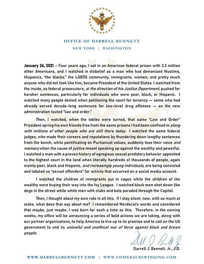 Press Release (Office of Darrell Bennett