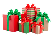 green and red gift box with a ribbon and