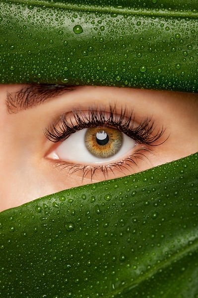 Beautiful Woman with long lashes on the