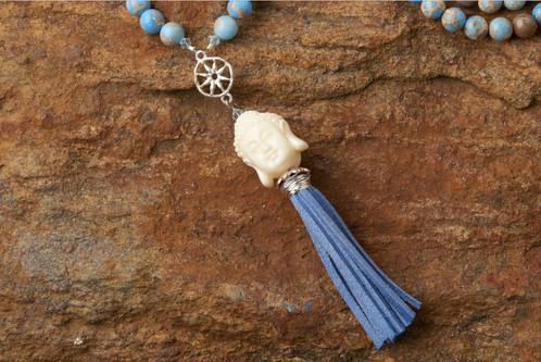 Blue mala with ivory buddha windsweptjewelry blue mala with ivory buddha mozeypictures Images