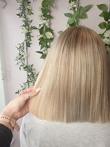 Blunt hair cut with micro ring extenions