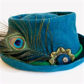 Turquoise Feather Brim Trilby Hat