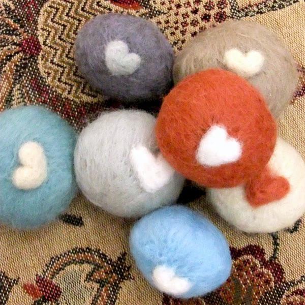 Tiny felted love heart rocks