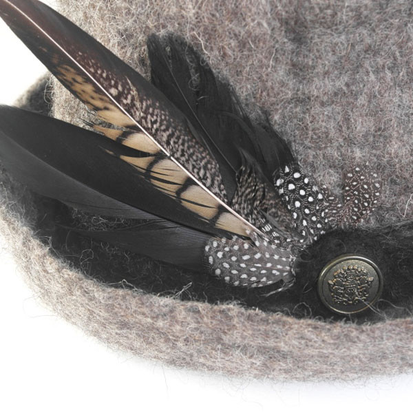 Grey Wool Felted Unisex hat