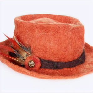 Hand felted rust brimmed hat