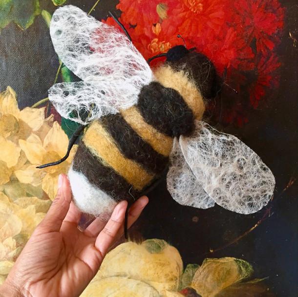 Bumble bee textile art