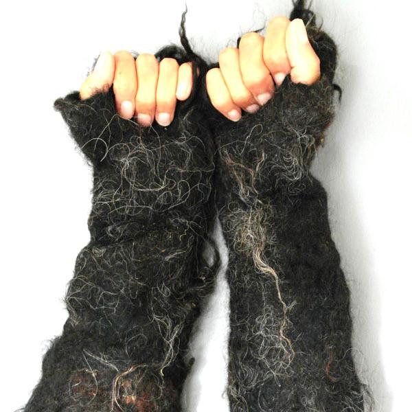 Black Shaggy Fleece Gloves