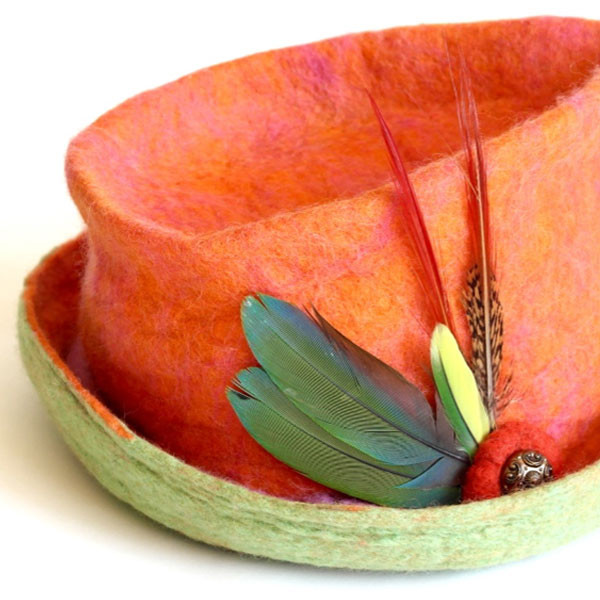 Salmon Brimmed Parrot Feathered hat