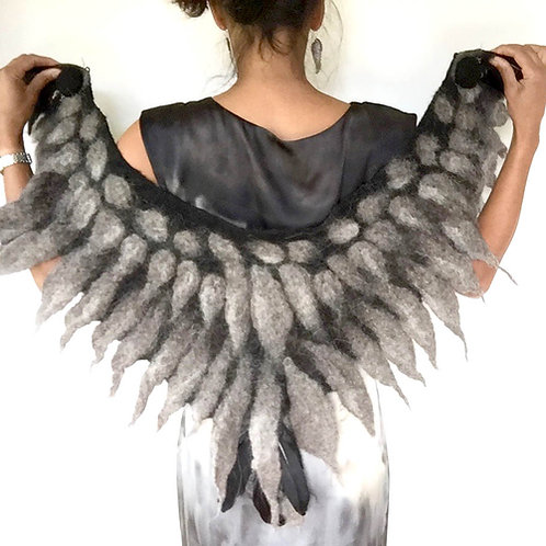 Felted Owl Wings Cape
