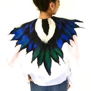 Felted Magpie Wings Cape
